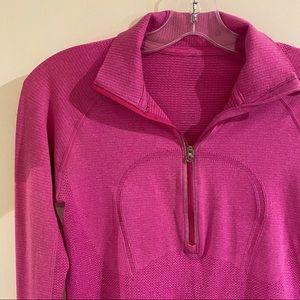 Lululemon 1/2 Zip Long Sleeve Shirt in Pink